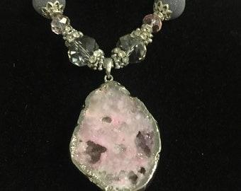 Pink Quartz & Crystal Statement Necklace
