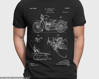 Harley Davidson T Shirt, Harley Davidson Patent T-Shirt, Vintage Harley Davidson Gift For Biker, Mechanic Gift For Husband, Biker Shirt P154