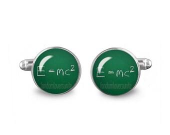 E=mc2 Cuff Links Theory of relativity Cuff Links 16mm Cufflinks Gift for Men Groomsmen Science Cuff Links Einstein