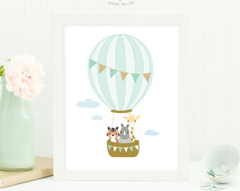 Hot Air Balloon Print, Nursery Wall Art Printable, Animal Nursery Art, Baby Boy Nursery Decor, Nursery Print, Instant Download Printable Art