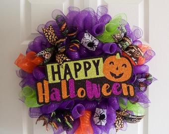 Halloween Wreath Halloween Wreaths for Front Door, Geo mesh Deco Mesh Wreath, Spider Web Ribbon, Glitter Sign Wreath, Fall Autumn Wreath