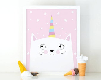 Cat unicorn, Caticorn print, Kitten print, Cute baby animal, meowgical, Girls room decor, Nursery decor, cute wall art, nursery wall art