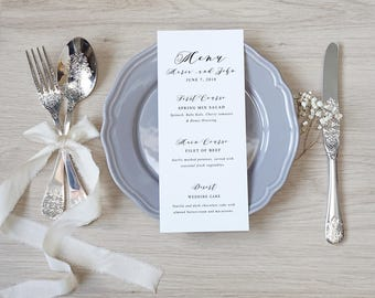 Wedding menu, Wedding menu template, Wedding menu printable, Wedding menu card, Printed Wedding menu, Custom Wedding Menu, Wedding