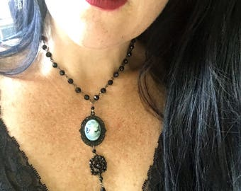 Grey & Black Victorian Cameo Necklace with Jet Black Vintage Beaded Pendant and Chain - Vintage Steampunk Gothic Goth Rocker
