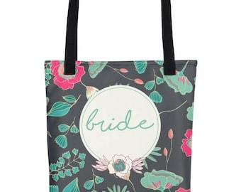 Bride To Be Tote | Bride Tote Bag | Floral Tote For Bride | Totes For The Bride | Floral Wedding Tote | Bridal Totes | Wedding Day Tote Bag