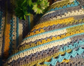 Crocheted Sea Glass Afghan, Yellow, Blue, Green, Grey, White Striped Blanket, Multi Color Throw