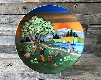 Vintage Barbara Furstenhofer Four Seasons Collection Spring Plate, Bockling Neudaneu Souvenir Plate, Bockling Neudaneu Folk Art