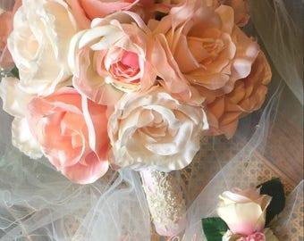 Silk Flower Blush Pink Bridal Bouquet With Matching Boutonniere