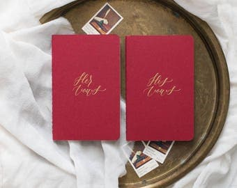 Calligraphy Vow Books, Red (Set of 2)