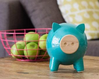 Turquoise piggy bank, ceramic piggy bank, large piggy bank, living room decor, housewarming gift, home decor,  nursery, birthday, PIGZ