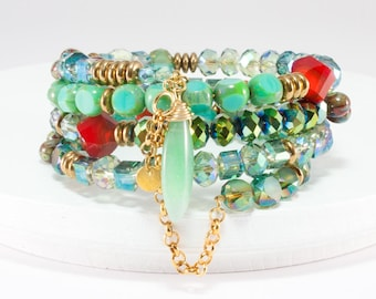 Natural Stone Wrap Bracelet, Layered Look