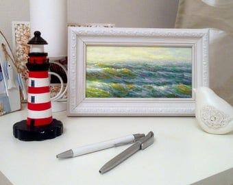 MINI  original seascape framed oil painting sea rain classical fine art wall home marine decor office personalized russian artwork