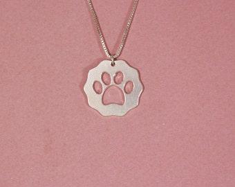 Dog paw necklace dog lover necklace sterling silver dog paw print necklace paw pendant necklace dog lover gift