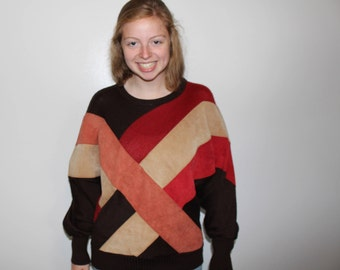 80s COLOR BLOCKED SWEATER| Large| Rochelle|