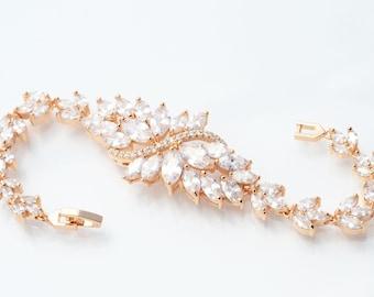 Bridal Bracelet Rose Gold Bridal Bracelet Wedding Bracelet Cubic Zirconia Gold Bracelet Bridal Jewelry Rose Gold Bracelet Flower Bracelet