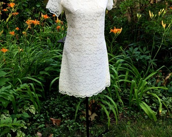 Vintage Mid-Century, Satin-Lined Mini Dress in Ivory Lace and White by Teena Paige