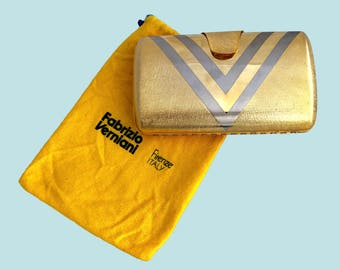 "Vintage Italian Purse Clutch, Yellow Gold Tone Metal Box Purse, Chevron Geometric, Fabrizio Verniani, Purses, Clutches, 16"" Drop Chain Strap"