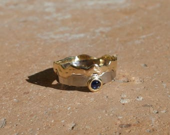 Ring white gold ring 18 K gold, sapphire ring, thin ring, gemstone ring, two-tone ring, women, unique ring, designer ring