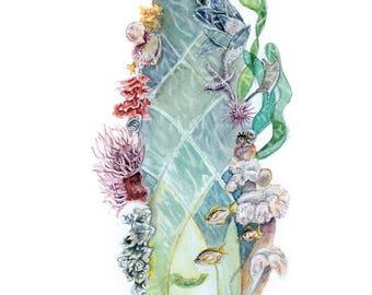 Literary Window Series: Little Mermaid inspired 5x7 Watercolor Art Print, Children's Books, Nursery Art, Underwater, Ocean art