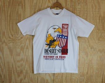 Vintage 1990's 1991 Hanes Label Desert Storm Kuwait Liberation White 50/50 T-Shirt  T Shirt L / M