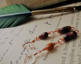 Gold and Red Tiger eye earrings. Selected stones. Copper earrings. By Angel's SignS