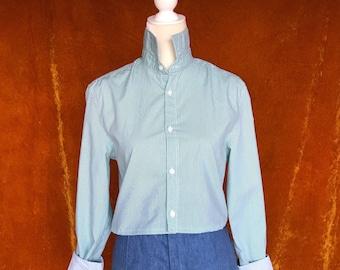 Crop Top, Repurposed Blouse, Women's Medium, Green Striped, Long Sleeve Button Up
