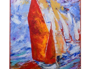 Sailboat with red sails,original painting,abstract,montern styl,conteborary,boat,blue sky,seascape