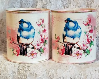 cottage chic tin cans,shabby chic decor,blue birds,upcycled tin can,home decor,cabin cottage beach,pink rose,glitter,repurposed salvaged,tin