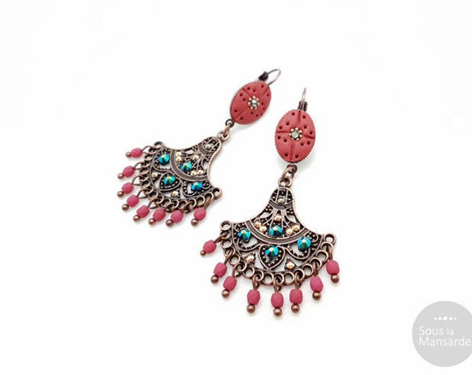 Red Boho chandelier earrings hand crafted, handsculpted polymer clay, glass beads, copper plated, boheme earrings