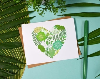 Set of four Succulent Notecards, Tropical, cactus, cacti Monstera, plant lady, garden, house plants, grow, heart, green thumb Fun Stationery