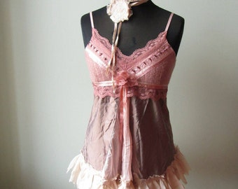 Pink Tattered Lace Tank Top, Romantic Shabby Chic Shirts, Refashioned Altered Top, Pink Pixie, Mori Girl, Music Festival Clothing Coachella