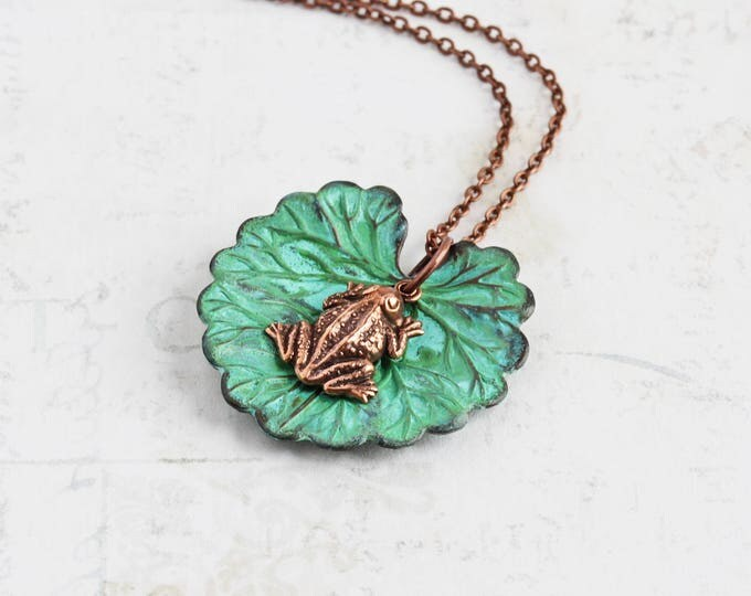 Featured listing image: Small Frog Necklace with Lily Pad Pendant on Antiqued Copper Plated Chain (Hand Patina)