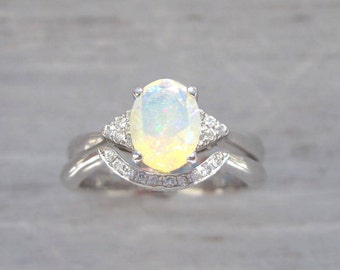 Bridel Set Opal Engagement Ring, Set Antique Style Engagement Opal Ring, Vintage Opal Ring, Birthstone Gold Ring, Engagement Ring With Opal