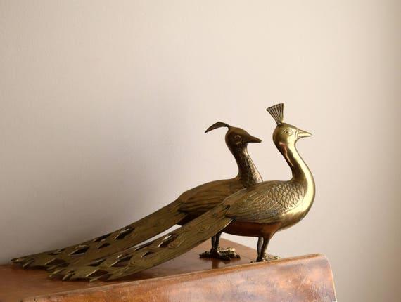 Vintage Brass Peacock Statues - Mid Centruy, Modern, Hollywood Regency, Natural