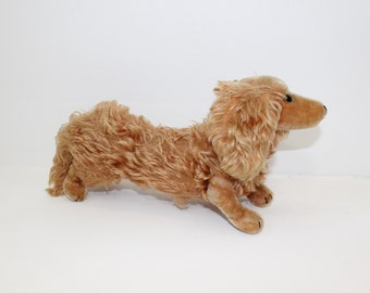 Vintage 1960s large Waldi Dashshund puppy sausage dog mohair collectable soft toy with button in ear