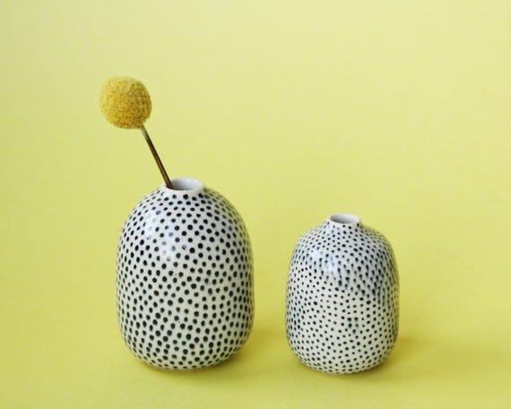 set of polka dot ceramic bud vases / weed pots // set of 2