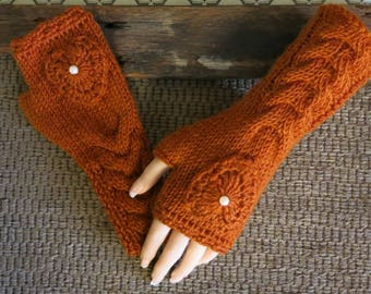 Warm Knitted Fingerless Gloves, Tan Heart Cable Arm Warmers and pearl Winter Wool Gloves, Womens Accessories  48 colours Crochet Gloves