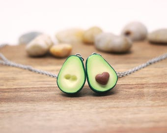 Avocado Friendship Necklace - 1 pair - avocado necklace, mother's day, Friendship jewelry, personalized gift, Hypoallergenic