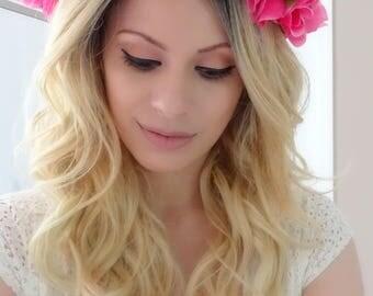 Pink and Purple Floral Crown, Floral Headpiece, Flower Crown, Statement Crown, Maternity Crown