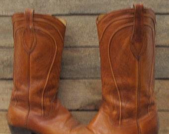 Vintage Mens Dan Post 8.5D Brown Leather Cowboy Western Boots