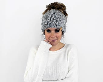 Messy Bun Headband, Ponytail Hat, Knit Pony Tail Bun, Running Hat- Piscataway Ponytail Hat