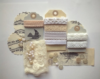 5 metres (5.5 yards) of creams and whites vintage lace and bead collection/ destash