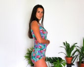 DDR Bombshell Swimsuit / 1970's German GDR Vintage Hippie Swimming Suit, Open Back Low Cut One Piece: Teal, Purple, Pink Flowers ---> S -M