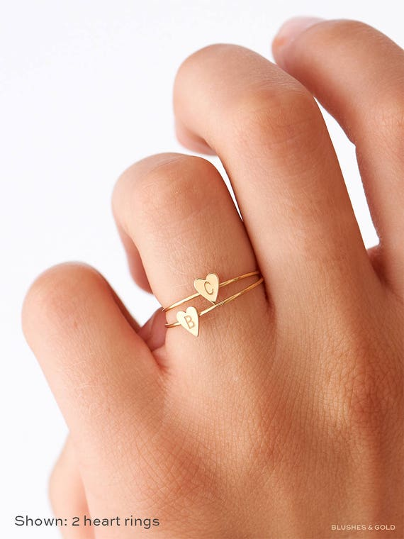 Dainty Initial Ring Personalized Heart Ring Gold Stacking