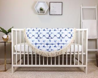 Baby Play Mat - MADE TO ORDER - Indigo Shibori / Indigo Navy Blue Round Fringe Play Mat /Padded Playmat / Tummy Time Mat / Baby Activity Mat