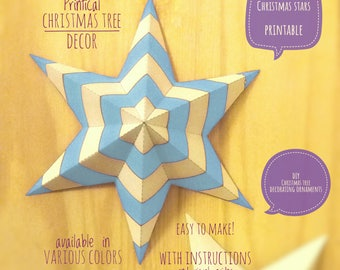 Christmas stars, DIY, printable, Christmas decor, diy Christmas ornaments, Christmas art, holiday decor, stars, 4 Christmas tree, BLUE light