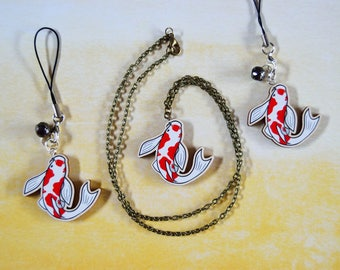 Wooden Japanese Koi Fish * Necklace or Phone Charm