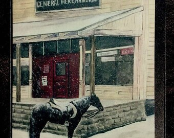 Horse waiting by country store greeting card