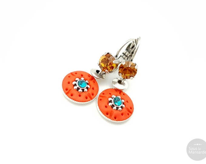 Boho dangle earrings orange, blue, topaze, colorful earrings, round pendant earrings
