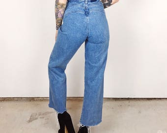Vintage Western Rockies High Waisted Seamed Wide Leg Cropped Mom Jeans // Women's size 25 26 Small S